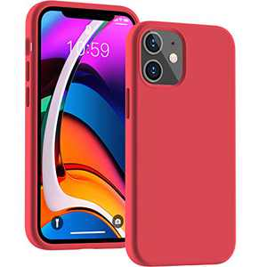 Cucell Compatible with iPhone 12 Mini case 5.4 inch(2020),Liquid Silicone Gel Rubber Full Body Protection Cover Shockproof Durable Drop Proof Shell-Red