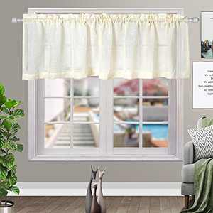 Cream Kitchen Curtains Semi-Sheer Rod Pocket Window Curtain Valance for Dining Room (1 Panel, 60inches W x 16 inches L)
