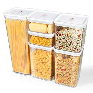 TBMax Airtight Food Storage Containers, Set of 6 BPA-Free Plastic Cereal Dispenser for Kitchen Pantry Organization and Storage