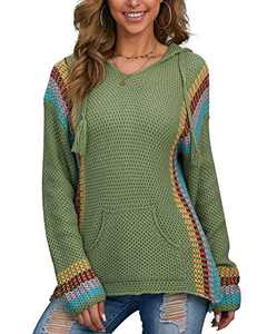 Hiistandd Women's Casual Hoodies Sweater Long Sleeve Hooded Pullover … Green