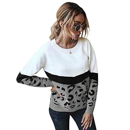 Women's Casual Long Sleeve Sweater for Women Leopard Print Color Sweater Comfy Stripe Round Neck Shirts Tops(U5WWSY01-gray-l)