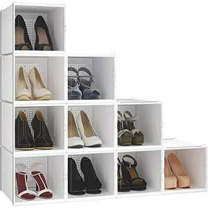 YITAHOME High Heel Shoe Box, Set of 10 Shoe Storage Organizers Heavy Duty Stackable Clear Shoe Storage Box Rack Clear Drawer-White