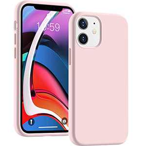 Cucell Compatible with iPhone 12 Mini case 5.4 inch(2020),Liquid Silicone Gel Rubber Full Body Protection Cover Shockproof Durable Drop Proof Shell-Pink Sand