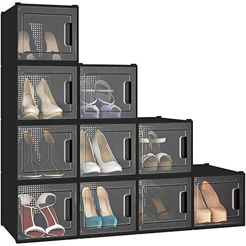 YITAHOME High Heel Shoe Box, Set of 10 Shoe Storage Organizers Heavy Duty Stackable Clear Shoe Storage Box Rack Clear Drawer-Black