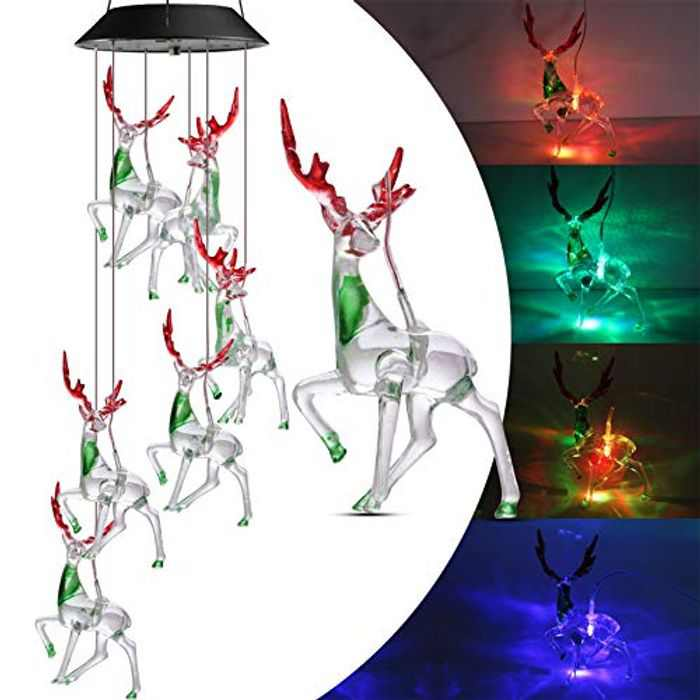 Geemoo Solar Wind Chimes Lights, Color Changing Reindeer Wind Chimes, Waterproof Garden Lights Solar with A Hook for Garden Patio Yard Balcony Decoration