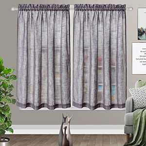 Grey Curtains for Bedroom Home Decoration Linen Like Cafe Curtains Privacy Semi Sheer Half Window Curtains 2 Panels (W36 x L45)