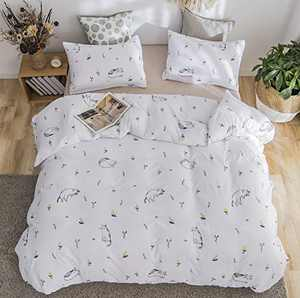 jieshiling Floral Duvet Cover Set Twin Boho Flowers Bedding Set,with Soft Lightweight Microfiber 1 Duvet Cover and 1 Pillowcases Zipper Closure(cat, Twin)