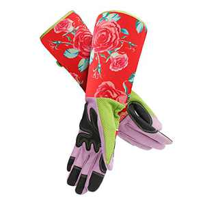 Women Long Gardening Gloves, Enpoint Durable Thorn Proof Pruning Gloves with Puncture Resistant for Blackberries Picking, Rose Garden Gloves with Extra Long Forearm Protection for Gardeners, Red