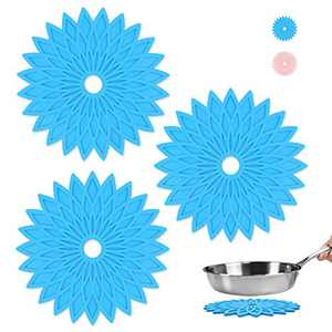 FWIEXA 3 Pcs Silicone Trivets Mat, Heat Resistant Kitchen Hot Pad for Hot Pots and Pans, Non-Slip Hot Pan Holder for Kitchen,Table and Countertop, Blue