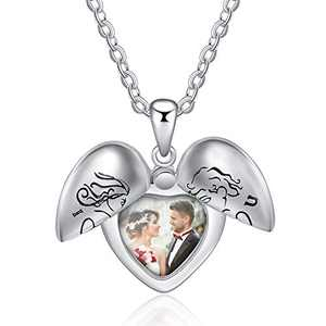 kaululu Personalized Picture Angle Necklace for Women Men Memory Pendant Necklace with Picture for Unisex Custom Engraved Heart Locket Necklace That Holds Pictures Charm Necklace Gift for Girls Boys