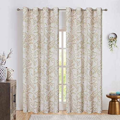 """Jacquard Retro Style Curtain Panels, Grommet Top Window Treatment Sets for Living Room Patio Door Traditional Floral Pattern Drapes Set of 2 Panels, 52"""" x 63"""", Tan"""