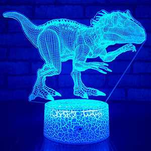 JMLLYCO Dinosaur Toys Night Lights for Boys T Rex Light 16 Colors Change with Remote Control Optical Illusion Bedside Lamps Jurassic World Toys for3 4 5 6 7 8 9 Year Old Boys Gifts