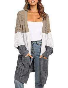 MEROKEETY Women's Oversized Long Batwing Sleeve Cardigan Waffle Knit Pockets Sweater Coat, ContrastKhaki, M