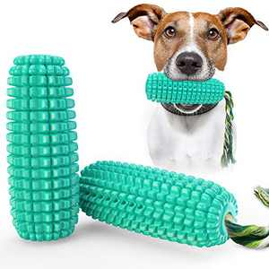 USWT Corn-Shaped Squeaky Dog Toys Puppy Toys Dogs Supplies Dog Float Toy Doggy Chew Cotton Rope Molar Teeth Cleaning Toothbrush Durable Tough New Material¡
