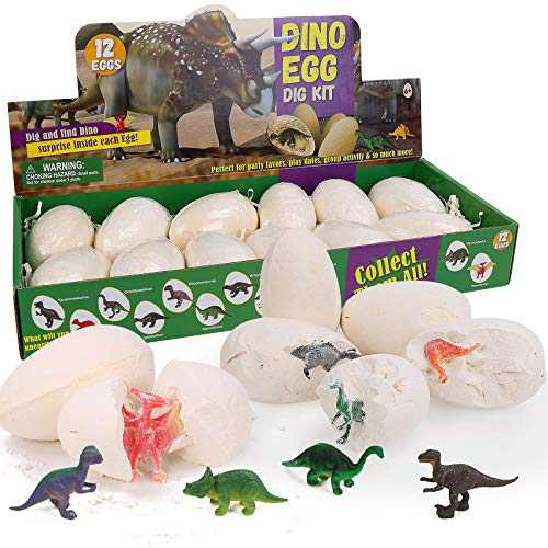 Micnaron Dino Egg Dig Kit Dinosaur Eggs 12 Dinosaur Excavation Kits with 12 Unique Dinosaur Toys Dinosaur Dig for Kids Easter Party Archaeology Paleontology Educational Science Gift