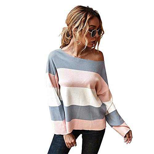 Women's Casual Long Sleeve Sweater for Women Leopard Print Color Sweater Comfy Stripe Round Neck Shirts Tops(U5WWSY02-gray-s)
