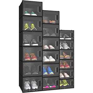 YITAHOME Shoe Box Family Kit, Set of 18 PCS,6 Small Size, 6 Medium Size, and 6 X-Large Size Shoe Storage Organizers Stackable Shoe Storage Box Rack Clear Drawer-Black