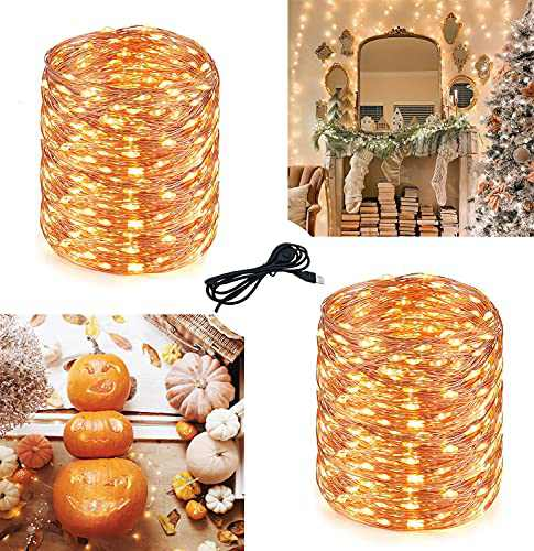 2 Pack Fairy Lights Dimmable USB Fairy Lights 66Ft 200 LED Twinkle Lights for Room Decor Fairy Lights for Bedroom,Wedding,Wall Decor,Halloween,Party,Christmas(Warm White)