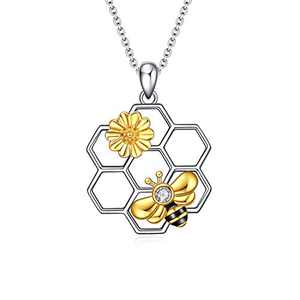 LUHE Bee Necklace 925 Sterling Silver Honeycomb Cute Flower Pendant Necklaces for Women for Her (Bee Necklace)