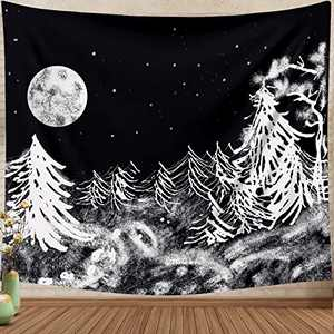 HexyHair Tapestry Wall Hanging for Bedroom Black and White, Mountain Moon Forest Tree Tapestries Blanket Starry Night Sky Aesthetic Home Dorm Decor for Living Room
