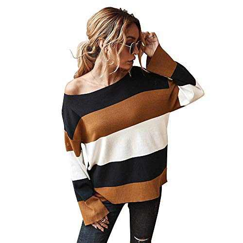 Women's Casual Long Sleeve Sweater for Women Leopard Print Color Sweater Comfy Stripe Round Neck Shirts Tops(U5WWSY02-black-l)