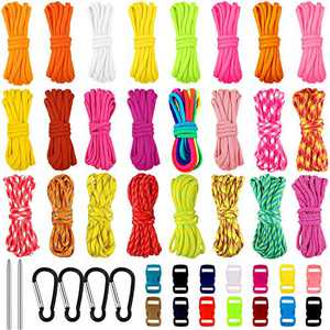 24 Pieces 550 Paracord Cords with 14 Colorful Buckles for Bracelet Multicolored Multipurpose Paracord Ropes for Camping Hiking with 4 Snap Hook 2 Paracord Stitching Needle Paracord Crafting Kit