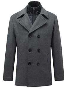Men's Double-Breasted Wool Blend Pea Coat Classic Notched Collar with Removable Bib Grey M