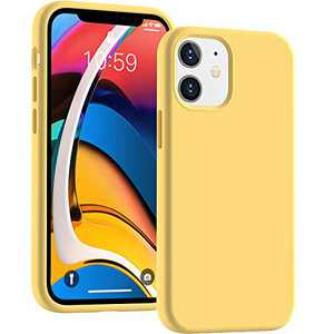 Cucell Compatible with iPhone 12 Mini case 5.4 inch(2020),Liquid Silicone Gel Rubber Full Body Protection Cover Shockproof Durable Drop Proof Shell-Yellow