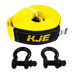 "KJE Recovery Tow Strap Shackle Hitch Receiver 3"" x 20' 27000lb Break Strength Heavy Duty Storage Bag Shackle with 2 Rings for Vehicle Recovery, Hauling, Stump Removal & Much More"
