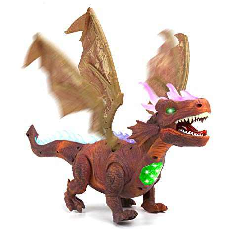 DricRoda Walking Dinosaur Toy with Wings, LED Light Up and Roar Realistic Easter Dino Toys for 3 4 5 6 7 Year Old Boys and Girls