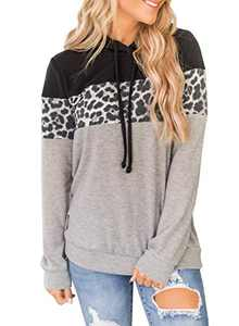 MISSJOY Women Leopard Patchwork Colorblock Casual Hooded Sweatshirt Drawstring Trump Hoodies Pullover Tops Costume Grey