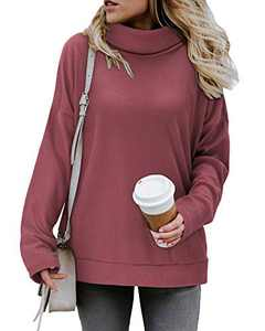 KILIG Women's Turtleneck Top Sweater Pullover Casual Long Sleeve Side Split Loose Sweater Shirts Knit Tunic Tops(Purplish Red, Small)