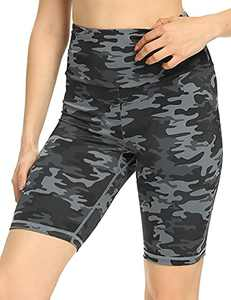 IOJBKI Workout Yoga Shorts for Women High Waist Tummy Control Compression Exercise Running Biker Shorts with Pockets(CL110-Grey Camouflage-M)