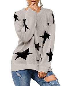 Avanova Women's Star Sweater Casual Crewneck Long Sleeve Pullover Knitted Jumper Tops Grey Small