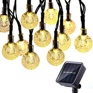 Solar String Lights 60 LED, 36ft Solar Patio Lights, Waterproof Outdoor Bulb String Lights with 8 Modes, Crystal Ball Solar Christmas Lights for Patio, Garden, Gazebo, Tree (Warm White)