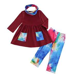 Kids Toddler Baby Girl Outfits Long Sleeve Ruffle T-Shirt Top Dress Tie Dye Pants Scarf 3PCS Fall Spring Clothes Set (A-Wine Red, 3-4T)