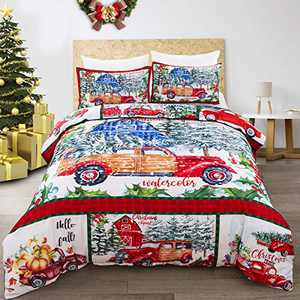 """3 Pieces Christmas Bedding Set Watercolor Christmas Clipart Duvet Cover Set Truck Carrying Xmas Trees Comforter Cover with 2 Pillowcases Snowy Winter Vintage Family Decoration for Queen Bed 90""""x90"""""""