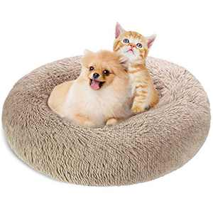 """KROSER 24""""/32""""/40"""" Donut Dog Cat Bed Washable & Self-Warming Round Pet Bed Deluxe Soft Plush Calming Donut Cuddler Cushion Bed"""