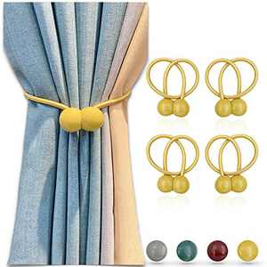 4 Pack Magnetic Curtain Tiebacks 16 inch Curtain Holdbacks Decorative Rope Curtain Clips Window Curtain Tie Convenient Drapery Curtain Buckle for Sheer Curtains & Blackout Curtains, No Need Drilling
