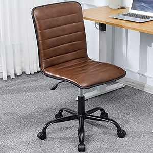 DICTAC Leather Home Office Chairs Rustic Desk Chair Office Chair armless Vanity Chair Brown Swivel Task Chair with Wheels Mid Century with Adjustable 30° tilt Mechanism, Capacity 400lbs