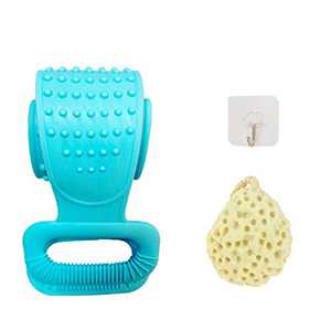 Silicone Back Scrubber For Shower|Updated Silicone Bath Body Exfoliating Brush With Multifunctional Bath Sponge|Dual different texture,Easy to clean,More Hygienic,comfortable for shower. (blue)