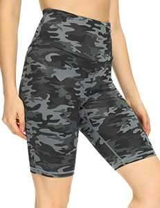 IOJBKI Workout Yoga Shorts for Women High Waist Tummy Control Compression Exercise Running Biker Shorts with Pockets(CL110-Grey Camouflage-XL)