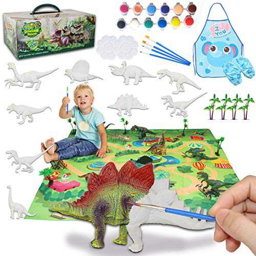 Kids Crafts and Arts Set, Dinosaur Painting Kit, 9 pcs Simulated Dinosaur Models, Creativity DIY Gift Paint Your Own Dinosaur Animal Set, Christmas Children's Gifts, Crafts for kids ages 4 5 6 7 8