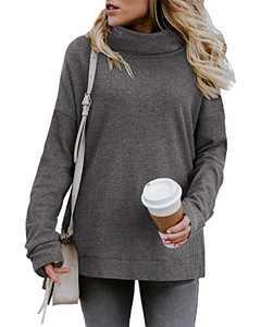 KILIG Women's Turtleneck Top Sweater Pullover Casual Long Sleeve Side Split Loose Sweater Shirts Knit Tunic Tops(Gray, Medium)