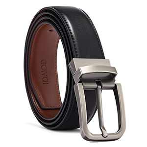 GOIACII Mens Belts Leather Causal Dress with Classic Single Prong Buckle Adjustable Gift Box