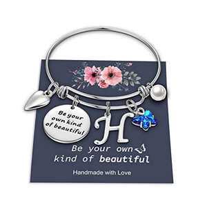 Yoosteel Butterfly Charm Bracelets for Women Girls, Stainless Steel Bangle Bracelet Expandable H Letter Initial Crystal Butterfly Bracelets Cute Jewelry for Teen Girls