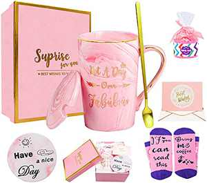 Birthday Gifts for Women- Not A Day Over Fabulous Mug- Thank You Gifts For Women- Funny Pink Gift Set Ideas for Her,Friends, Wife, Mom, Daughter, Sister, Ceramic Marble Coffee Tea Mug 12 Oz