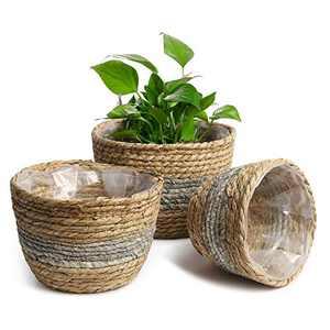 POTEY 740103 Seagrass Plant Basket Set of 3 - Hand Woven Basket Indoor Outdoor Storage Flower Pot Cover with Interior Plastic Coatin Home Decor & Natural Plant Containers (Light Gray)
