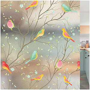 Privacy Window Film Non-Adhesive Frosted Bird Window Clings Vinyl Window Decals for Glass Room Decor Home Office Bathroom Kids Study Room(17.7x70.8 Inches)