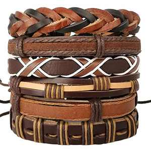 Mens Bracelet Set Leather Braided Beads Pack Adjustable Brown